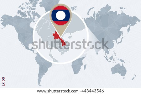 Abstract blue world map with magnified Laos. Vector Illustration. - stock vector
