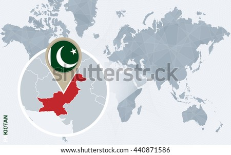 Abstract blue world map with magnified Pakistan. Pakistan flag and map. Vector Illustration. - stock vector