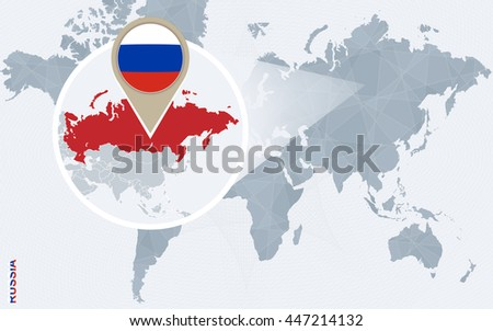 Abstract blue world map with magnified Russia. Vector Illustration. - stock vector