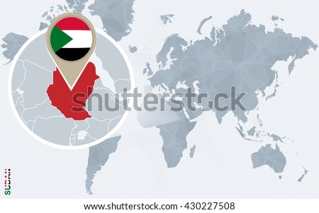 Abstract blue world map magnified sudan stock photo photo vector abstract blue world map with magnified sudan sudan flag and map vector illustration freerunsca Image collections