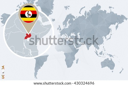 Abstract blue world map with magnified Uganda. Uganda flag and map. Vector Illustration.