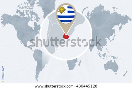 Abstract blue world map magnified uruguay stock vector 430445128 abstract blue world map with magnified uruguay uruguay flag and map vector illustration gumiabroncs Image collections