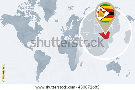 Abstract blue world map magnified zimbabwe stock vector 430872685 abstract blue world map with magnified zimbabwe zimbabwe flag and map vector illustration gumiabroncs Image collections