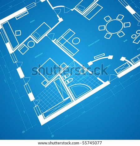 Abstract blueprint background in blue and white colors. Vector illustration. - stock vector