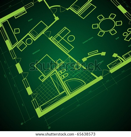 Abstract blueprint background in green colors. Vector illustration.