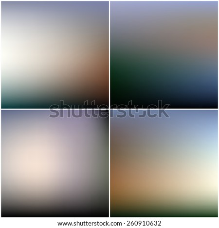 Abstract blurred backgrounds set. Editable blurred backgrounds set. - stock vector
