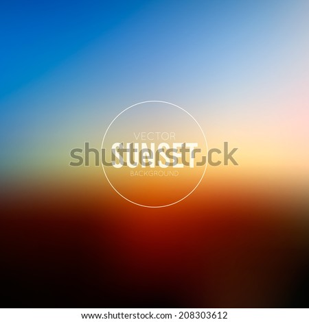 Abstract blurred evening background with sign - stock vector