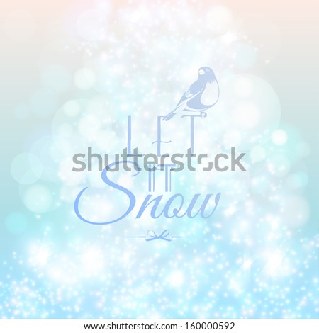 Abstract blurred lights and snow background  - stock vector