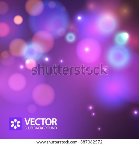 Abstract blurred purple background with bokeh effect. Vector illustration. - stock vector