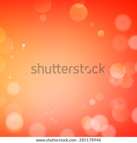 Abstract bokeh sparkles on orange blurred background - stock vector