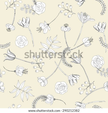 Abstract botanical seamless background, flowers and plants - stock vector