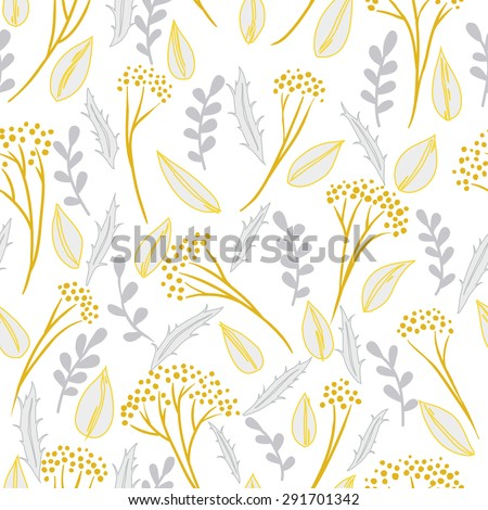 Abstract botanical seamless background, plants and leaves - stock vector