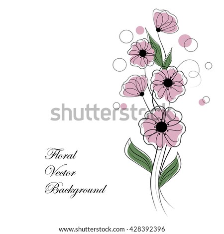 Abstract bouquet of pink flowers with circles. Floral vector background for use in your design.