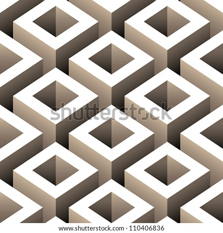 abstract boxes 3D seamless pattern background - stock vector