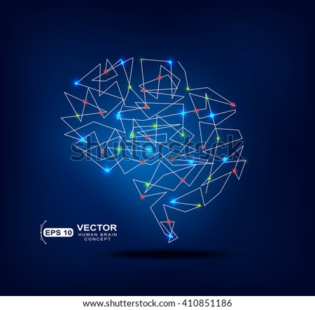 Abstract brain graphic with trace and spot lights activity - stock vector