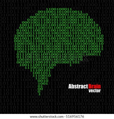 Abstract brain with binary computer code. Vector illustration. Eps 10