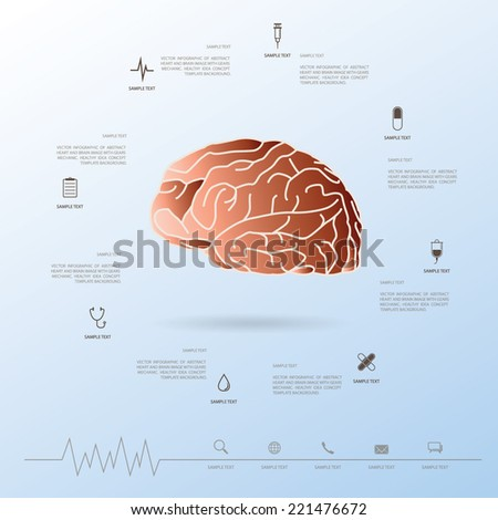 Abstract brain with medical icons set. Vector healthy info graphic concept for template design to presentation. - stock vector