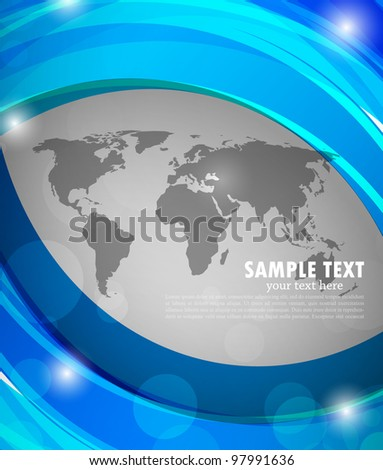 Abstract bright blue background with grey map