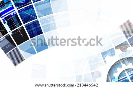 abstract bright blue cube vector technology background. communication and information strategy - stock vector