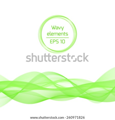 Abstract bright color wave. Vector isolated curly green element with frame in the shape of circle for background of your design. - stock vector