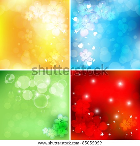 abstract bright floral vector set with copy space. Eps10 - stock vector