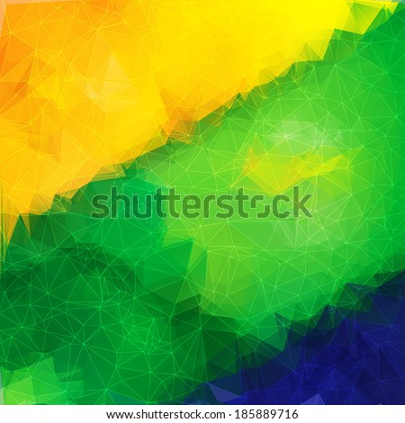 Abstract bright geometric background with triangle object in the colors of the Brazilian flag.  Vector illustration. - stock vector