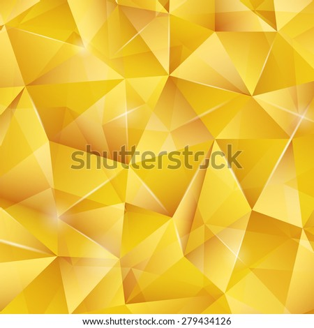 Abstract bright gold pattern from triangles with lights. Vector luxury background for your design. - stock vector