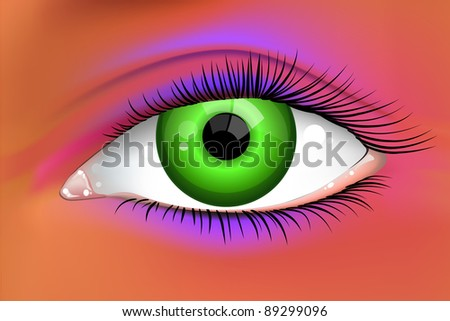 Abstract bright green female eye vector - stock vector