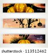 abstract bright header set of three halloween vector party - stock vector