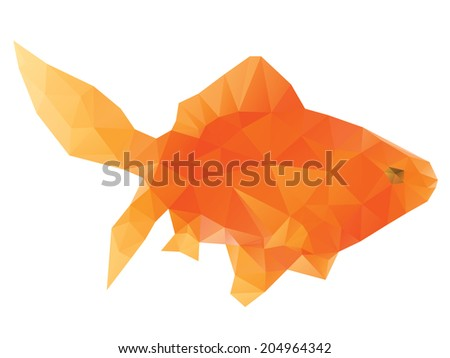 Abstract bright polygonal gold fish on white background.