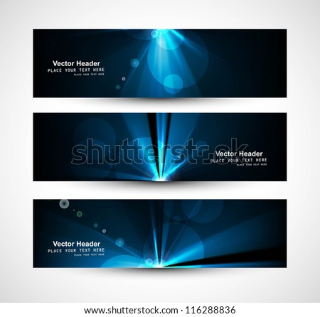 abstract bright rays colorful header wave set vector - stock vector