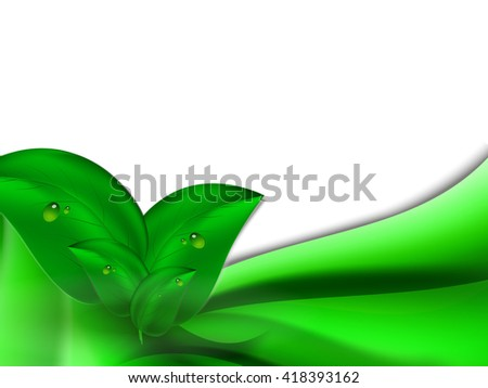 Abstract bright summer background with green leaves and green horizontal stripes - stock vector