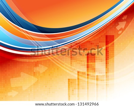 abstract bright vector statistic template with bar graphs. Eps10 - stock vector