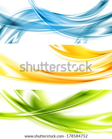 Abstract bright wavy vector banners - stock vector