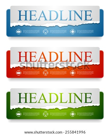 Abstract bright web headers design with ragged paper edge. Vector banners - stock vector