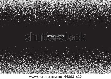 Abstract bright white shimmer glowing round particles vector background. Snowfall effect. Falling scatter shine tinsel light explosion. Celebration, holidays and party illustration