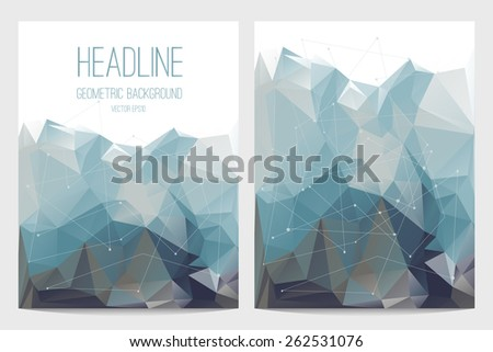 Abstract brochure and flyer covers in polygonal style  - stock vector