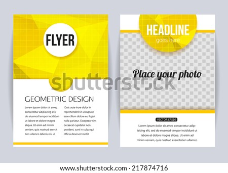 Abstract brochure design templates. Modern back and front flyer backgrounds. Geometric design. Vector illustration. - stock vector