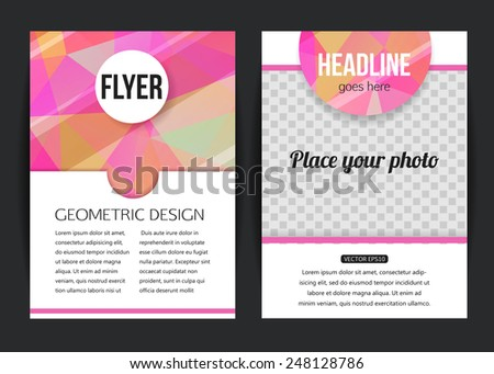 Abstract brochure design templates. Modern back and front flyer backgrounds. Geometric design with place for photo. Vector illustration. - stock vector