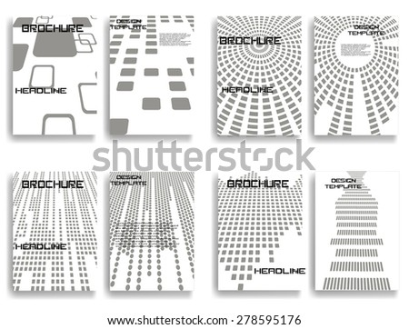 Abstract Brochure Design . Vintage Set Of Different Geometrical Textured Brochures . Retro Flyers , Banners , Posters with Linear Textures . Gray  Patterns . - stock vector