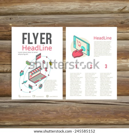 Abstract  Brochure Flyer design vector template. flat 3d isometric art modern design concept vector icons. Icons for mobile marketing and online shopping - stock vector