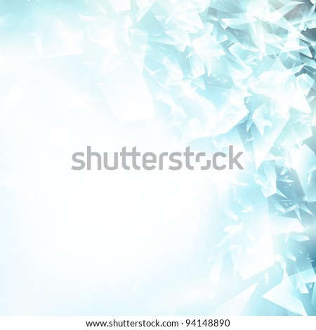 Abstract broken glass or blue ice background, copyspace for your text - stock vector