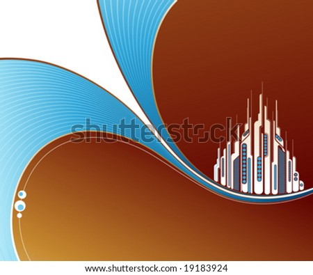 Abstract brown background with two blue waves and futuristic buildings. Vector illustration. - stock vector