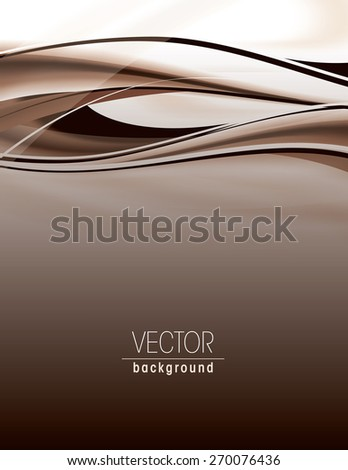 Abstract brown background with wavy lines. - stock vector