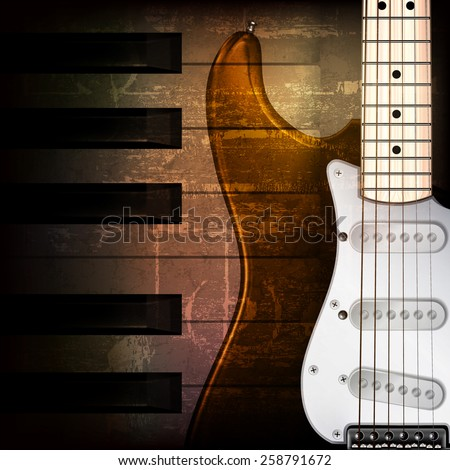 abstract brown grunge music background with electric guitar - stock vector
