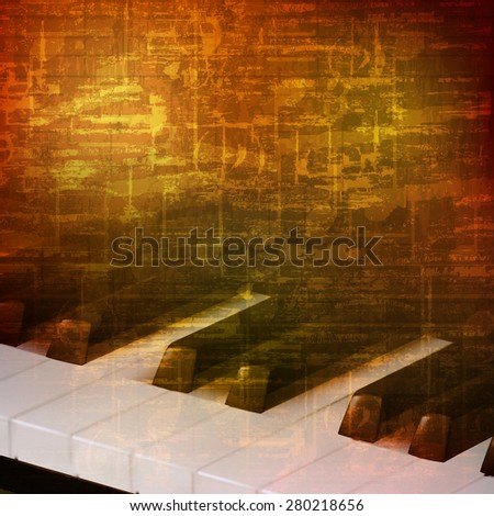 abstract brown grunge vintage sound background with piano keys - stock vector
