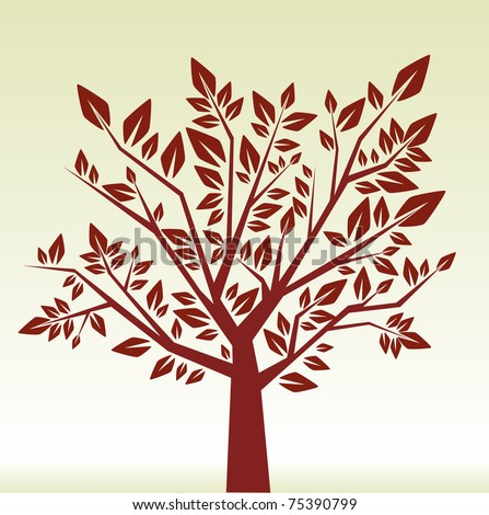 Abstract brown tree - stock vector