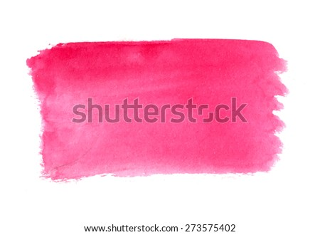 Abstract brush strokes, pink watercolor background, vector - stock vector