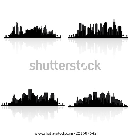 abstract buildings silhouettes on a white background