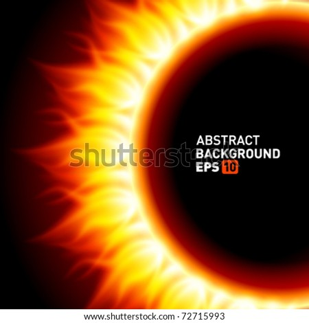 Abstract burning fire circle top view vector background. Eps 10. - stock vector
